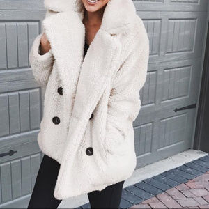 Jackets   Blazers - White Faux Fur Coat Jacket a80264711712